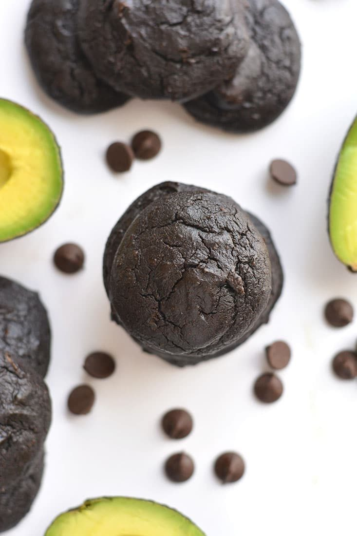 These Chocolate Avocado Cookies are rich, fudgy & melt in your mouth! Avocados are substituted for oil making the cookies a healthier, vitamin packed treat. You'll never know they're made with avocados! Gluten Free + Low Calorie {with a Paleo option}