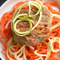 Spiralized Turkey Burgers with Zucchini & Carrots! These burgers make a bold statement with curly strands of veggies. With 4 ingredients & 10 minutes to make, this veggie packed recipe is one anyone can make. Paleo + Gluten Free + Low CalorieSpiralized Turkey Burgers with Zucchini & Carrots! These burgers make a bold statement with curly strands of veggies. With 4 ingredients & 10 minutes to make, this veggie packed recipe is one anyone can make. Paleo + Gluten Free + Low Calorie