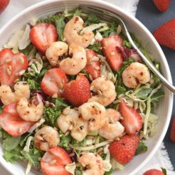 Shrimp Strawberry Poppyseed Salad {GF, Low Cal, Paleo}
