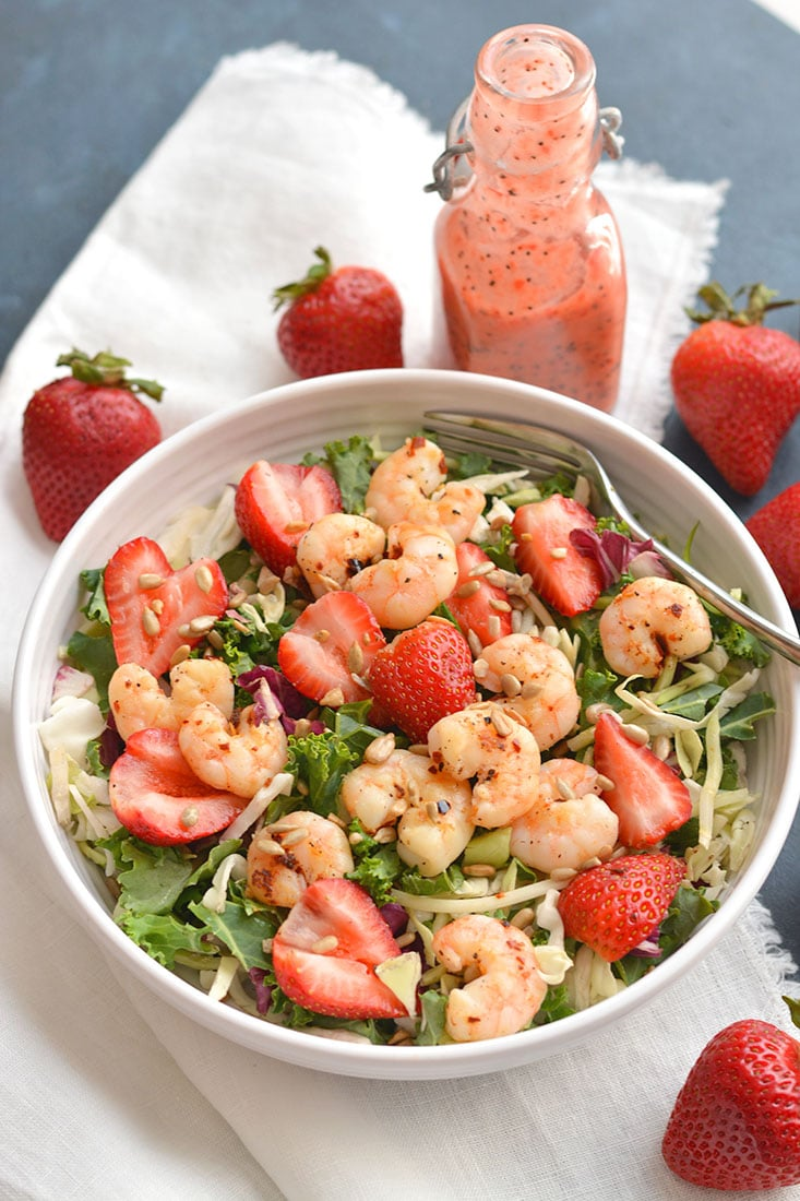 A satisfying Shrimp Strawberry Poppyseed Salad packed with delicious, simple ingredients & a light strawberry poppyseed vinaigrette. Easy to make fresh at home. Just toss and go! Great as a vegetarian main or side salad. Gluten Free + Low Calorie