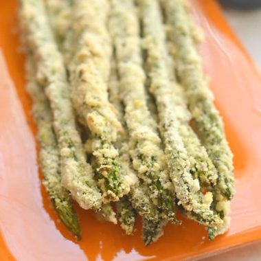 Almond Crusted Asparagus with Soy Yogurt - Skinny Fitalicious