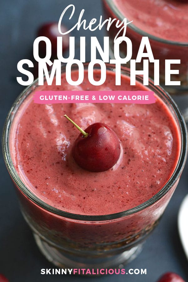 This Cherry Quinoa Smoothie is layered with quinoa & topped with a cherry smoothie. Mix the two together for a crunchy protein-packed breakfast!