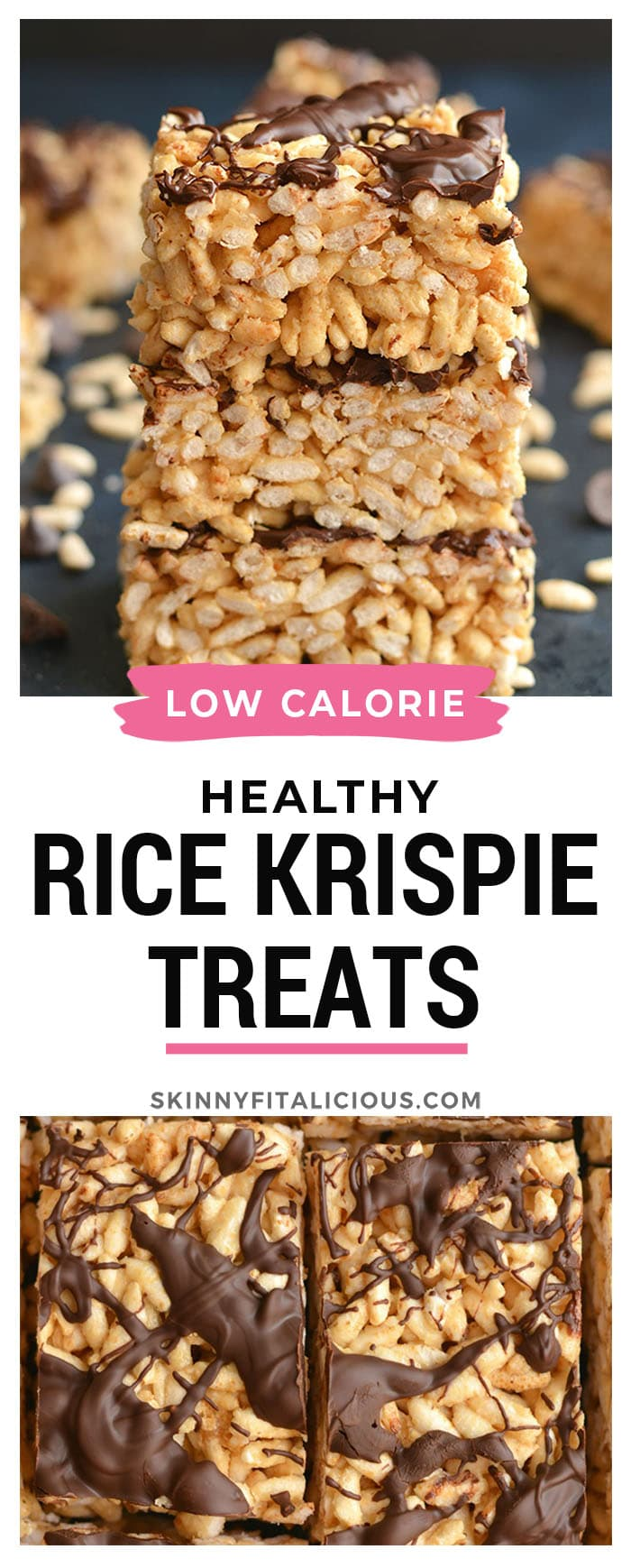 Healthy Rice Krispie Treats! Made with 3 ingredients, these no bake snacks are a healthy version of a classic favorite. Great as a post workout snack, a snack to take with you on the go, or an after dinner treat. Gluten Free + Low Calorie!