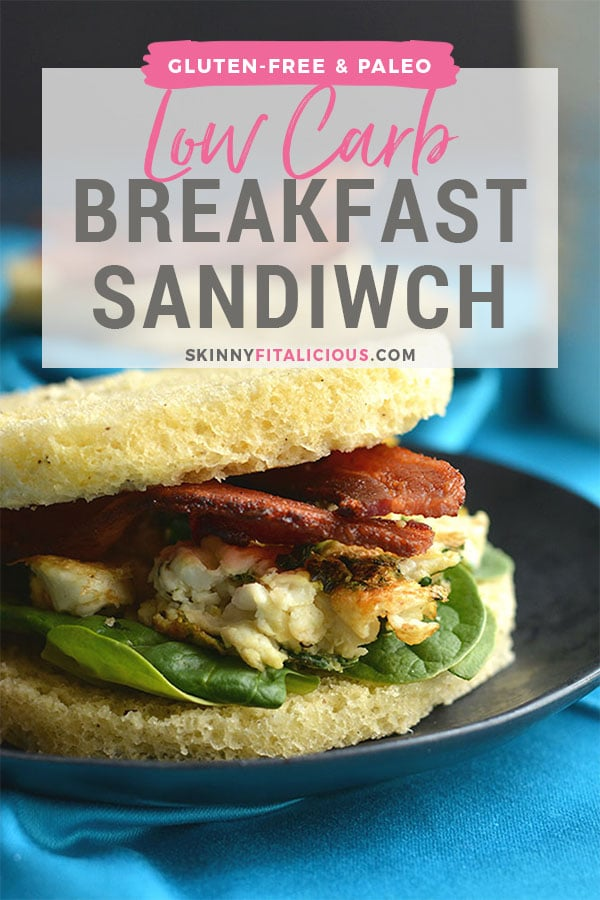 Low Carb Breakfast Sandwich made in under 2 minutes in the microwave. Make them ahead of time & freeze, or make them morning, noon or night for a healthy, Paleo, fluffy like a cloud bread. Paleo + Gluten Free + Keto