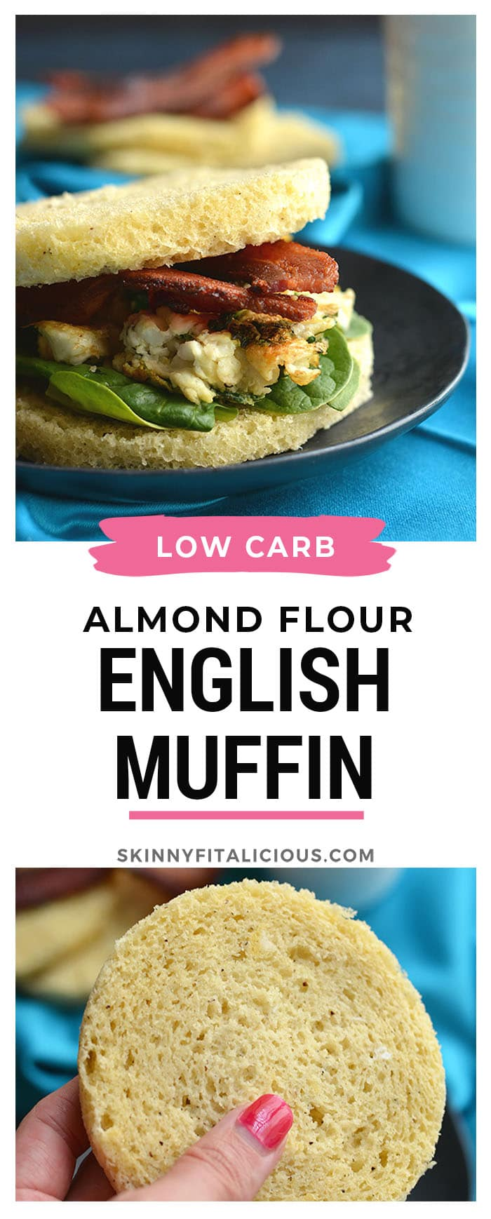 Low Carb Breakfast Sandwich made in under 2 minutes in the microwave. Make this English muffin ahead of time & freeze, or in the morning, noon or night for a healthy, Paleo, fluffy like a cloud bread. Paleo + Gluten Free + Keto