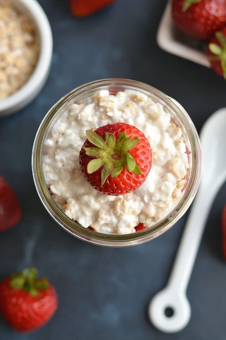 Nothing like cheesecake for breakfast! This Strawberry Cheesecake Overnight Oats recipe is prepped in less than 5 minutes so you can have a healthy, egg-free breakfast ready to go every morning! Gluten Free + Low Calorie