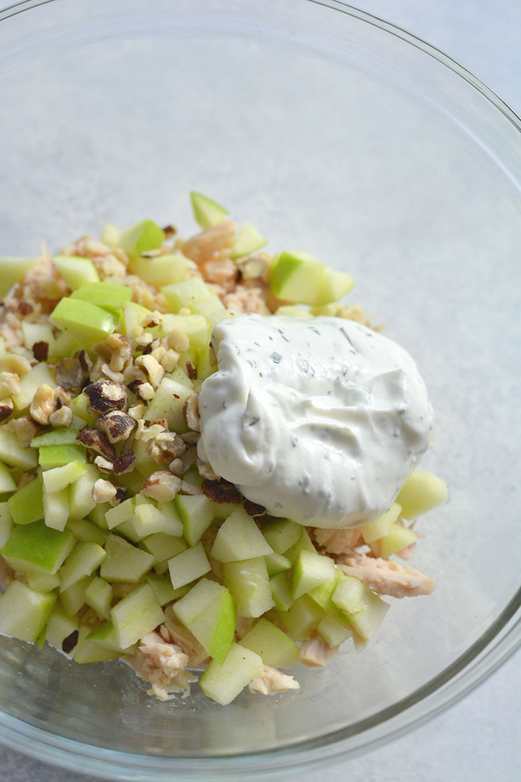 This Meal Prep Apple Hazelnut Chicken Salad is the perfectlight, low carb lunch! Made mayo free, Paleo friendly and flavorful! Serve over lettuce, in a sandwich or wrap. An easy meal preplunch you can take with you on the go! Gluten Free + Low Calorie + Paleo