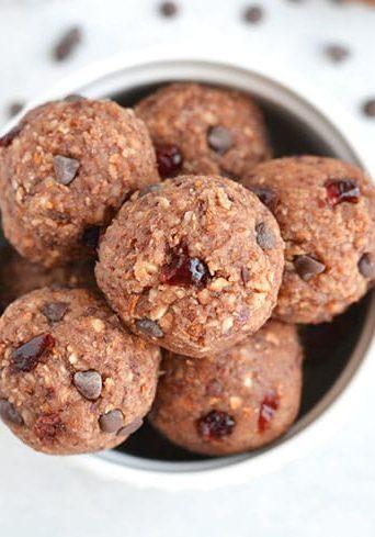 Chocolate Almond Cranberry Bliss Bites {GF, Low Cal, Paleo, Vegan}