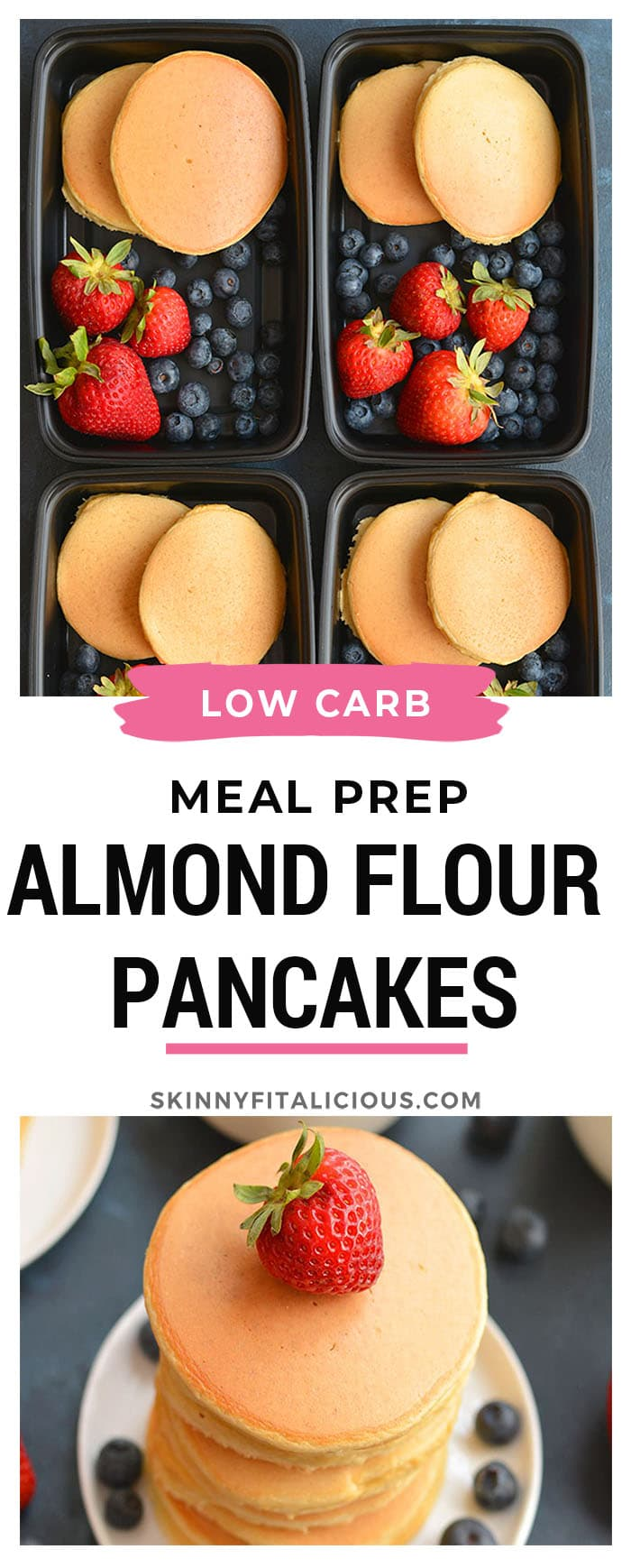 Meal Prep Almond Flour Pancakes! Made with 6 ingredients, these hearty pancakes have no added sugar, are low carb, high protein & delicious! Keep them in the refrigerator or freezer for an easy meal prep breakfast. Low Carb + Paleo + Gluten Free + Low Calorie