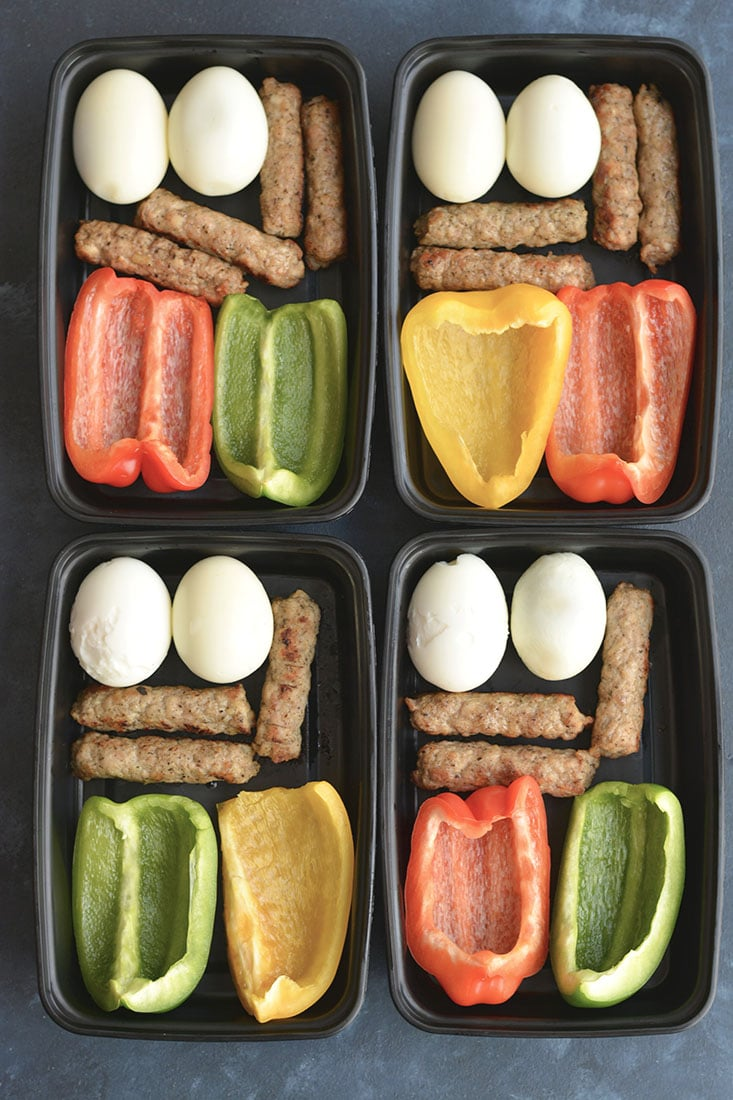 Meal Prep Breakfast PRO Bowls! Meal prep breakfast like a PRO with these protein + produced packed make ahead breakfasts. Prep the food over the weekend and toss them in a meal prep container to take with you on the go. Breakfast never got easier or healthier! Gluten Free + Low Calorie + Paleo