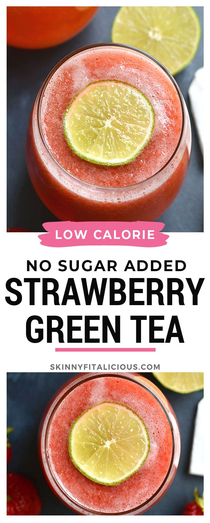 Boost your health with an antioxidant and Vitamin C rich Strawberry Green Tea! This fruit sweetened tea is cool, refreshing, and nourishing. Perfect for a hot day. Vegan + Paleo + Gluten Free + Low Calorie