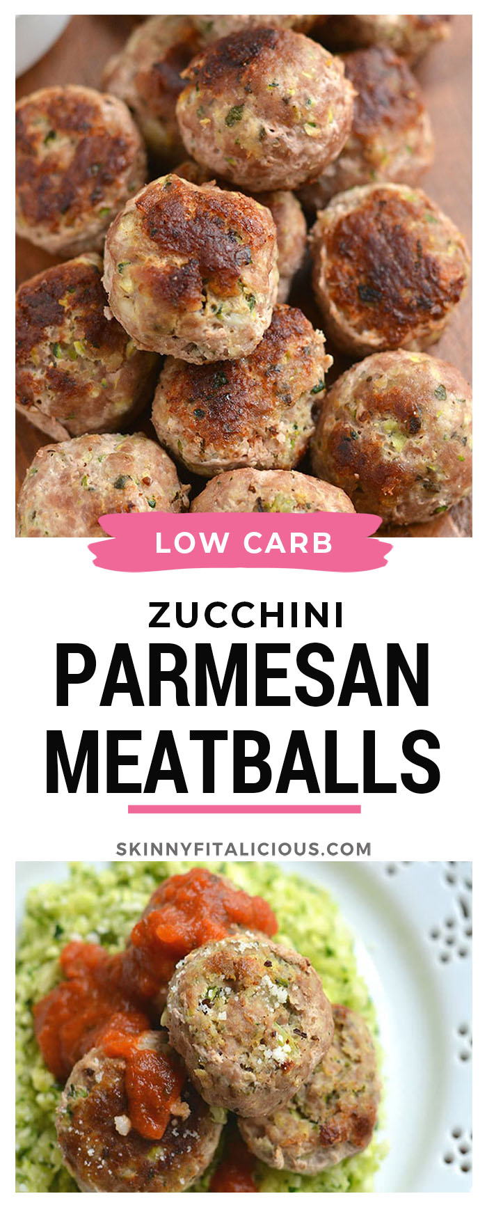 Healthy Zucchini Parmesan Meatballs! Baked in less than 30 minutes and freezable. These meatballs are perfect for meal prepping, a quick weeknight dinner or serving as an appetizer. Gluten Free + Low Calorie