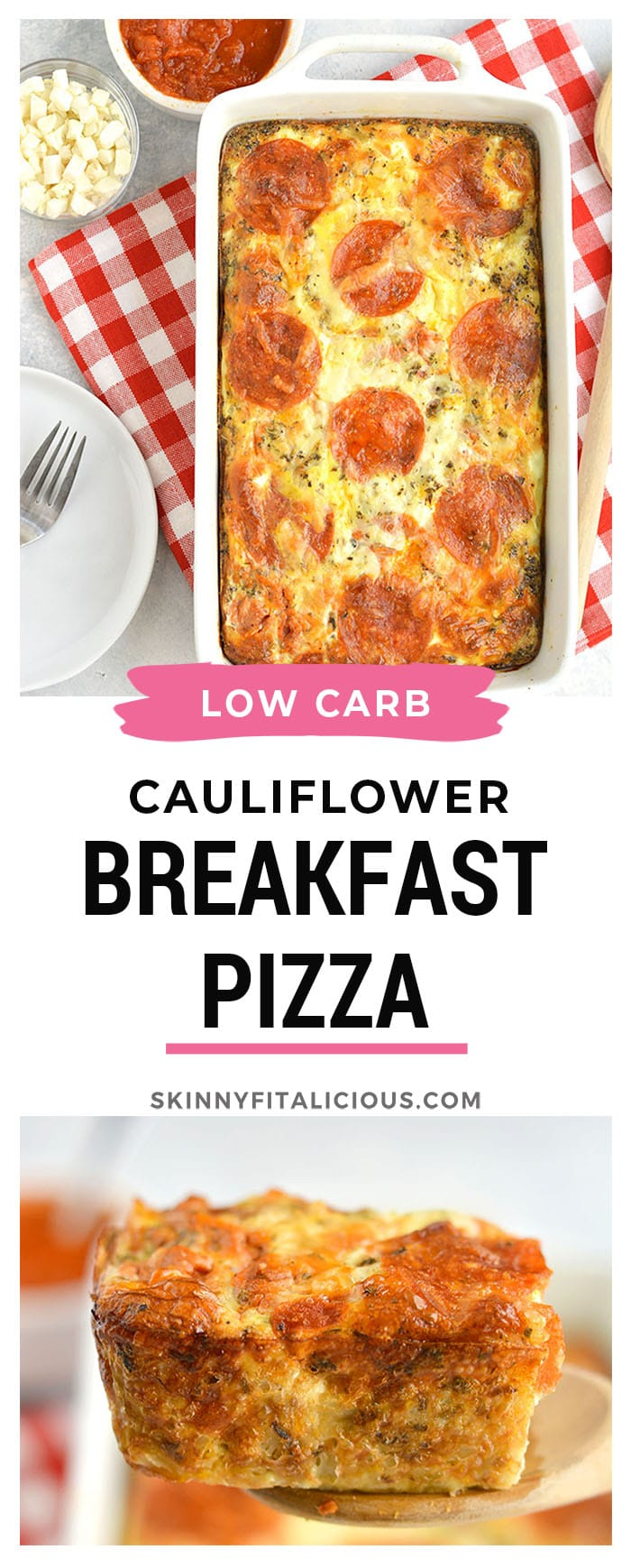 A Breakfast Cauliflower Pizza recipe you can eat anytime of day! Healthy, veggie packed, low carb pizza made with a simple cauliflower crust & topped with your favorite toppings. The more the merrier! This breakfast pizza is quick to make and nutritious! Gluten Free + Low Calorie