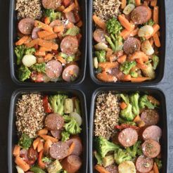 Meal Prep Sausage & Veggies! This protein & veggie packed meal is made EASY on a sheet pan & divided into meal prep containers for any meal. Eat it for breakfast, lunch or dinner! Pair with a side quinoa or cauliflower rice for Paleo. Gluten Free + Low Calorie