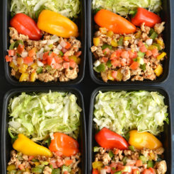 Meal Prep Turkey Taco Bowls are a healthier version of takeout that's lower in calories and big on flavor! Made with homemade seasoning for an EASY and filling veggie-protein-packed lunch or dinner. Paleo + Gluten Free + Low Calorie
