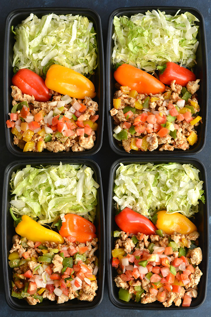 Meal Prep Turkey Taco Bowls Low Carb Paleo Gf Low Cal Skinny Fitalicious