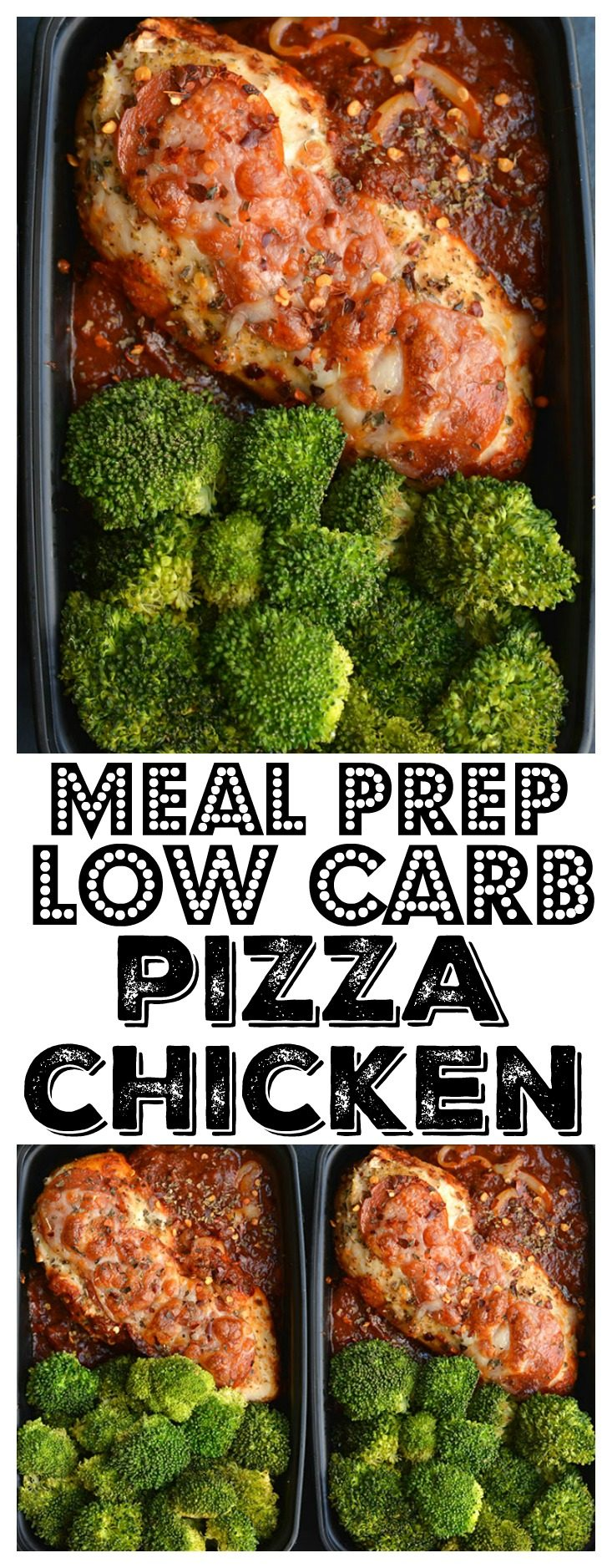 Meal Prep Pizza Chicken! Chicken dinner winner! This one skillet, low carb meal takes 20 minutes to make and has all the flavors of pizza without the carbs. Gluten Free + Low Calorie