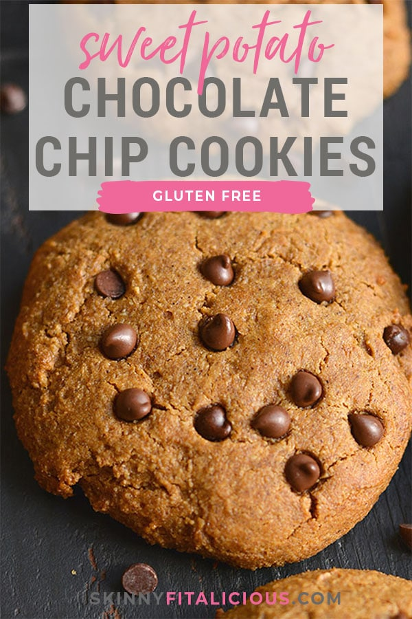 Soft, chewy Paleo Sweet Potato Chocolate Chip Cookies! With their thick, soft and gooey texture, these sneaky ingredient cookies are sure to a family favorite. Gluten Free, Low Calorie, Paleo