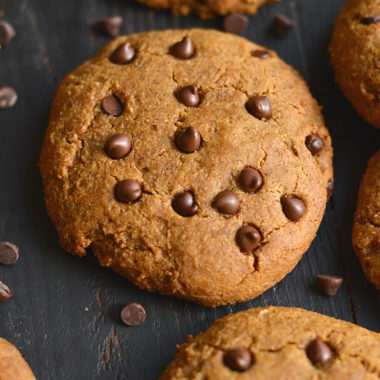 Soft, chewy Paleo Sweet Potato Chocolate Chip Cookies! With their thick, soft and gooey texture, these sneaky ingredients cookies are sure to a family favorite. Gluten Free, Low Calorie, Paleo