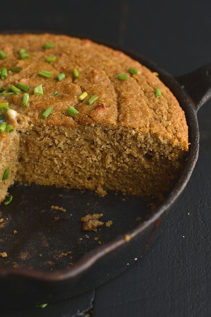 Almond Flour Pumpkin Cornbread! This simple & delicious grain-free bread is quick to make & delicious! Refinedsugar free, fluffy, soft with a hint of cinnamon. Bake it in a skillet or baking pan for a hearty & flavorful side! Gluten Free + Low Calorie