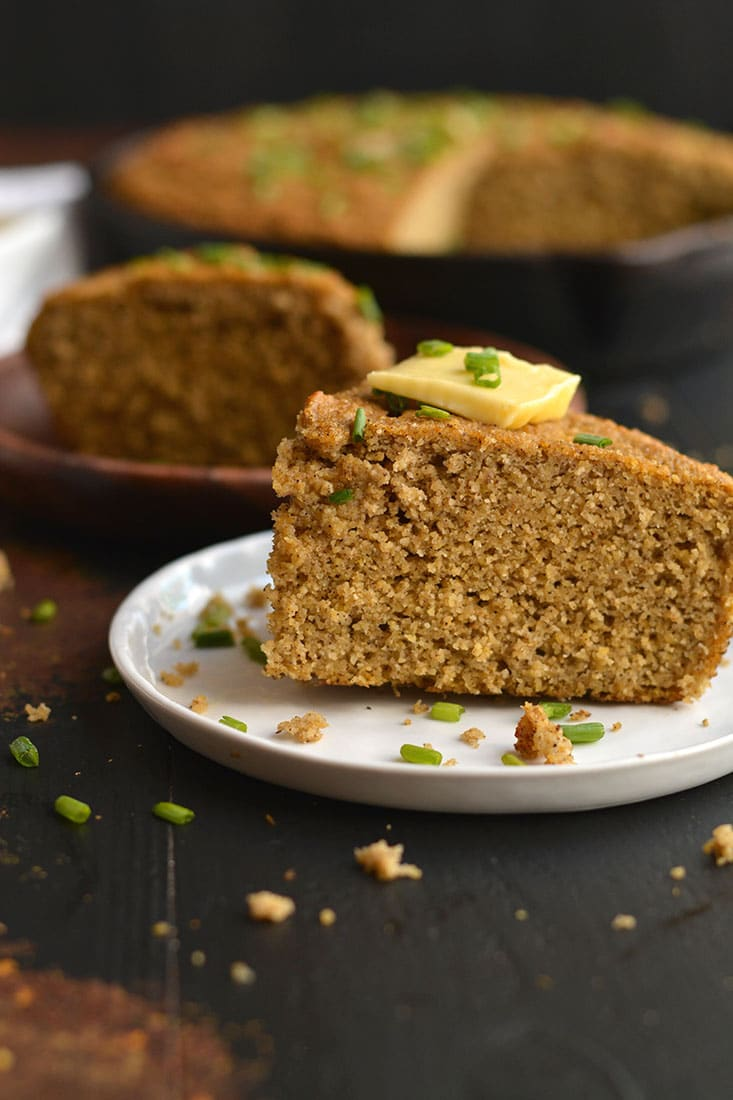 Almond Flour Pumpkin Cornbread! This simple & delicious grain-free bread is quick to make & delicious! Refined sugar free, fluffy, soft with a hint of cinnamon. Bake it in a skillet or baking pan for a hearty & flavorful side! Gluten Free + Low Calorie