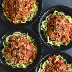 Meal Prep Bolognese with Zucchini & Artichokes {GF, Low Cal, Paleo}