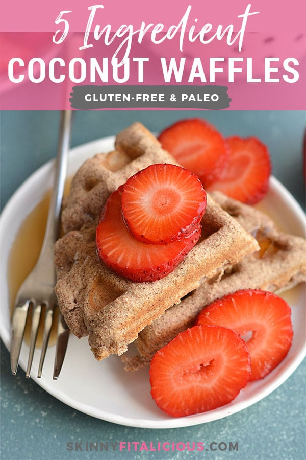 Super Easy 5 Ingredient Coconut Flour Waffles! Made with real food ingredients, these low carb waffles are the perfect fuel for a busy morning or weekend breakfast. Freezer friendly for meal prep too! Paleo + Low Calorie + Gluten Free