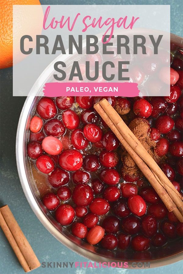 Homemade Sugar Free Cranberry Sauce naturally sweetened with oranges and spices. Easy, warm, filling! Gluten Free + Paleo + Vegan + Low Calorie