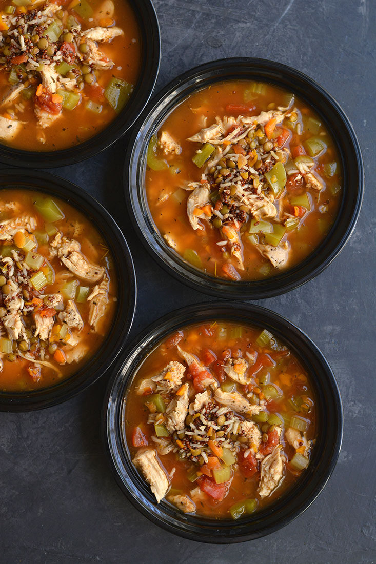 This Meal Prep Chicken Lentil Soup is a nutritious bowl of vegetables, rice & lentils. Nourishing, comforting & takes less than 30 minutes to make. A delicious bowl of warmth for a cold day! Gluten Free + Low Calorie