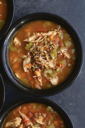 Meal Prep Chicken Lentil Soup {GF, Low Cal}