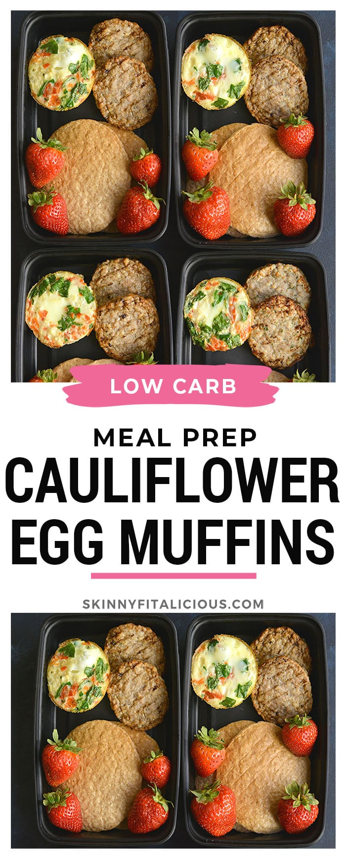 Meal Prep Cauliflower Egg Muffins!Made with cauliflower rice, these eggs have 6 grams of protein and less than 1 gram of carbs. An easy make ahead breakfast! Paleo + Gluten Free + Low Calorie.