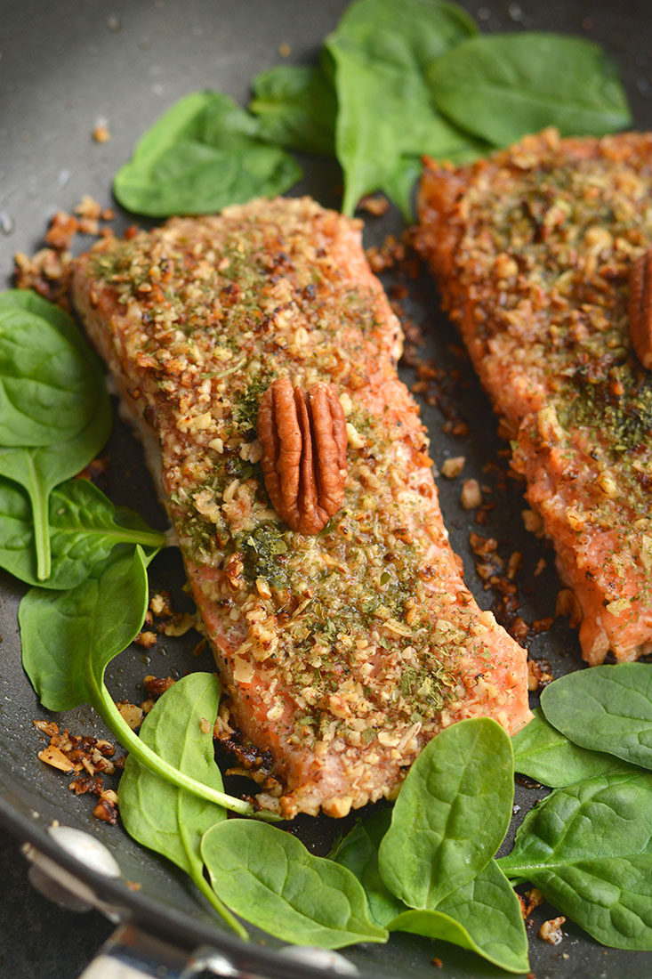 Pecan Oat Salmon! Salmon breaded in a pecan-oat-parsley mixture & sautéed in one pan. An easy dinner, ready in 20 minutes & packed with nutrients! Gluten Free + Low Calorie