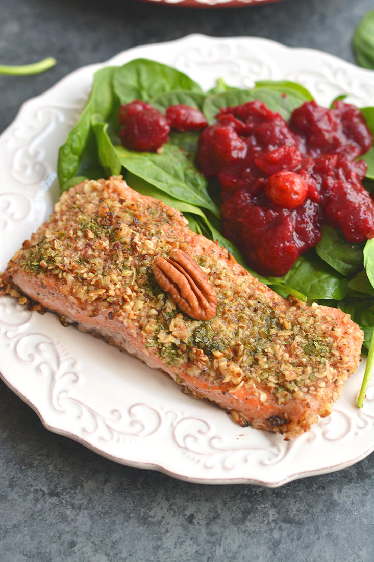 Pecan Oat Salmon!Salmon breaded in a pecan-oat-parsley mixture &sautéedin one pan meal. An easy dinner, ready in 20 minutes & packedwith nutrients! Gluten Free + Low Calorie