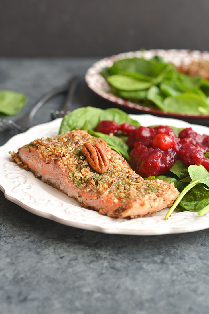 Pecan Oat Salmon! Salmon breaded in a pecan-oat-parsley mixture & sautéed in one pan meal. An easy dinner, ready in 20 minutes & packed with nutrients! Gluten Free + Low Calorie