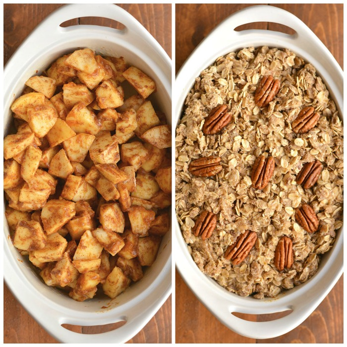 Pumpkin Spice Apple Crisp! Your favorite dessert got sweeter caramelized with pumpkin & spices! This healthier dessert recipe is easy to make & delicious! Eat it as is, or top with ice cream or Greek yogurt. Gluten Free + Low Calorie