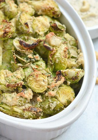 Brussels Sprouts With Cashew Cream Sauce {Vegan, Paleo, GF, Low Cal}
