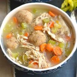 Healthy Chicken Dumpling Soup {GF, Low Cal}