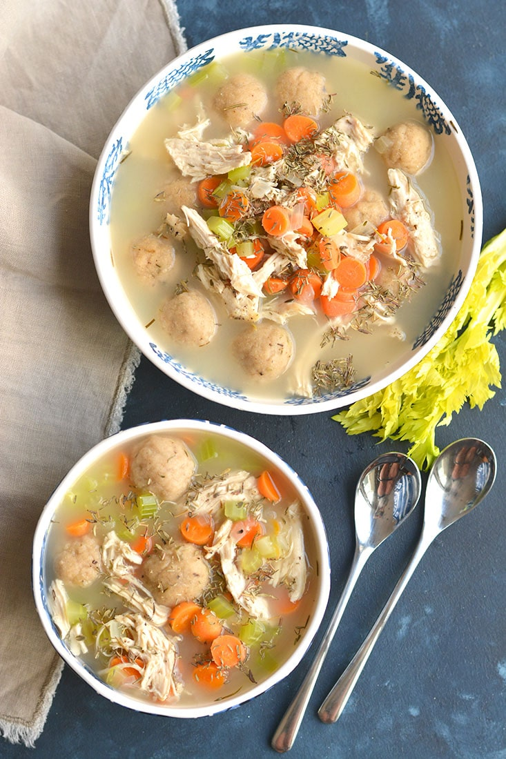 Healthy chicken dumpling soup gf low cal skinny fitalicious healthy chicken dumpling soup gluten free dumplings snuggled in a warm bowl of chicken soup forumfinder Choice Image