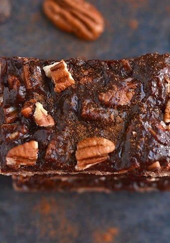 Chocolate Pecan Pie Bars {GF, Vegan, Low Cal}