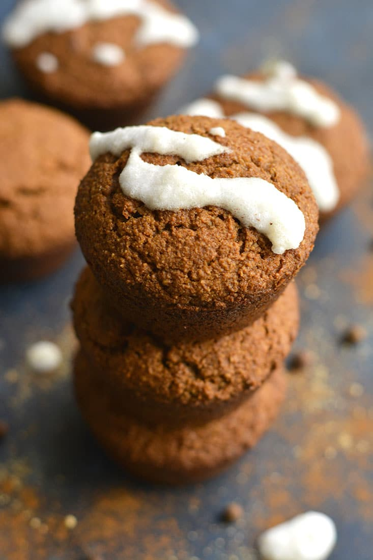 Almond Flour Gingerbread Muffins with collagen frosting. Spiced with warm flavors and high in protein & healthy fats! An easy breakfast or portable snack! Paleo + Gluten Free + Low Calorie
