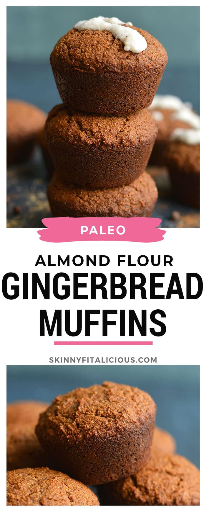 Almond Flour Gingerbread Muffins with collagen frosting. Spiced with warm flavors and high in protein and healthy fats! An easy breakfast or portable snack! Paleo + Gluten Free + Low Calorie