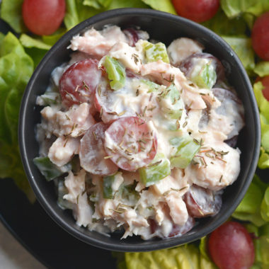 Meal Prep High Protein Chicken Salad!  Made with Greek yogurt, grapes & bell peppers this recipe is healthy, easy mayo free & egg free. Great for a quick meal, light lunch or appetizer. Gluten Free + Low Calorie