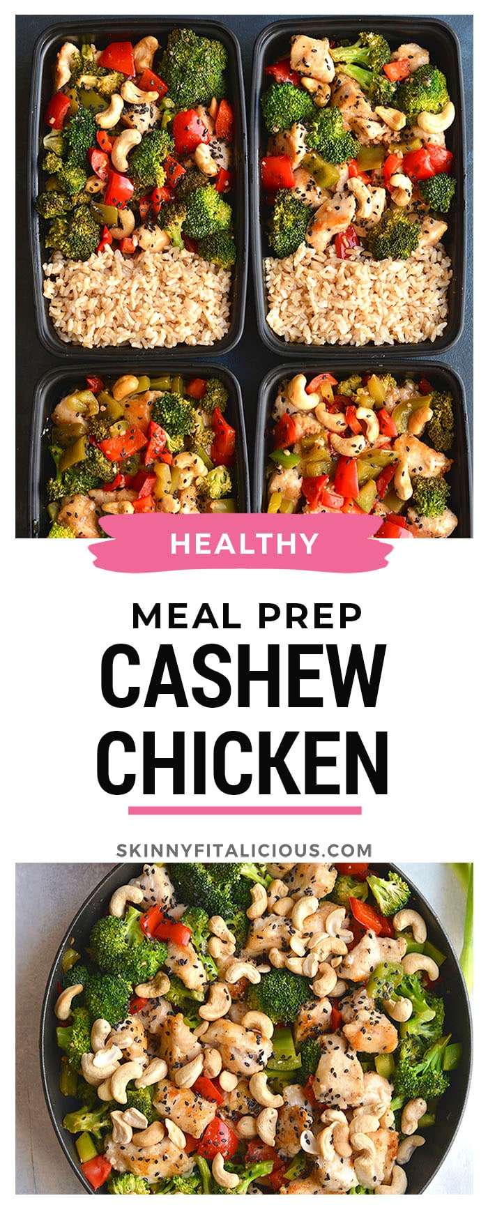 Meal Prep Cashew Chicken! An EASY, 20 minute one skillet meal that's loaded with veggies, crispy chicken and flavor. Cheaper and healthier than take-out! Gluten Free + Low Calorie with Paleo substitutions