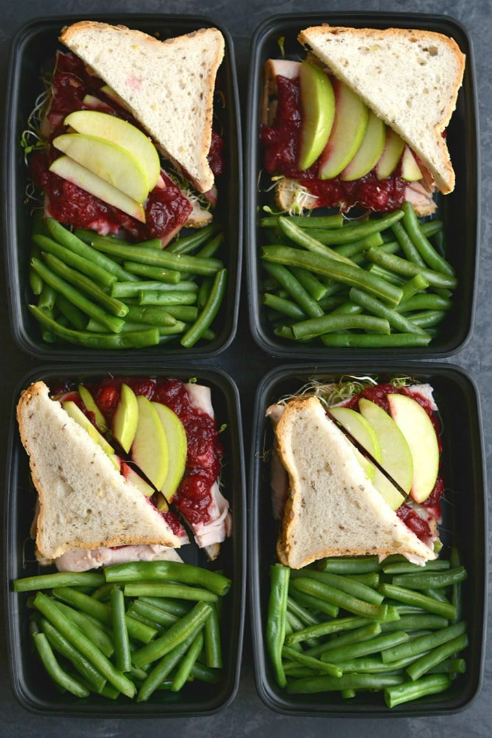 Meal Prep Cranberry Turkey Sandwich! Transform Thanksgiving leftovers into a simple, delicious & wholesome lunch. EASY to meal prep, but even better to take with you on the go & eat! Gluten Free + Low Calorie