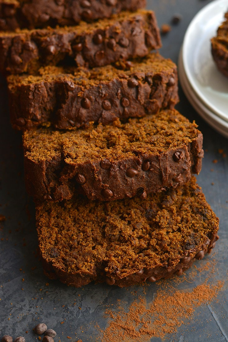 Healthy Chocolate Gingerbread Loaf! Made gluten free & lower in sugar with applesauce, this warm molasses & ginger spiced bread is perfect for a snack or breakfast. Gluten Free + Low Calorie