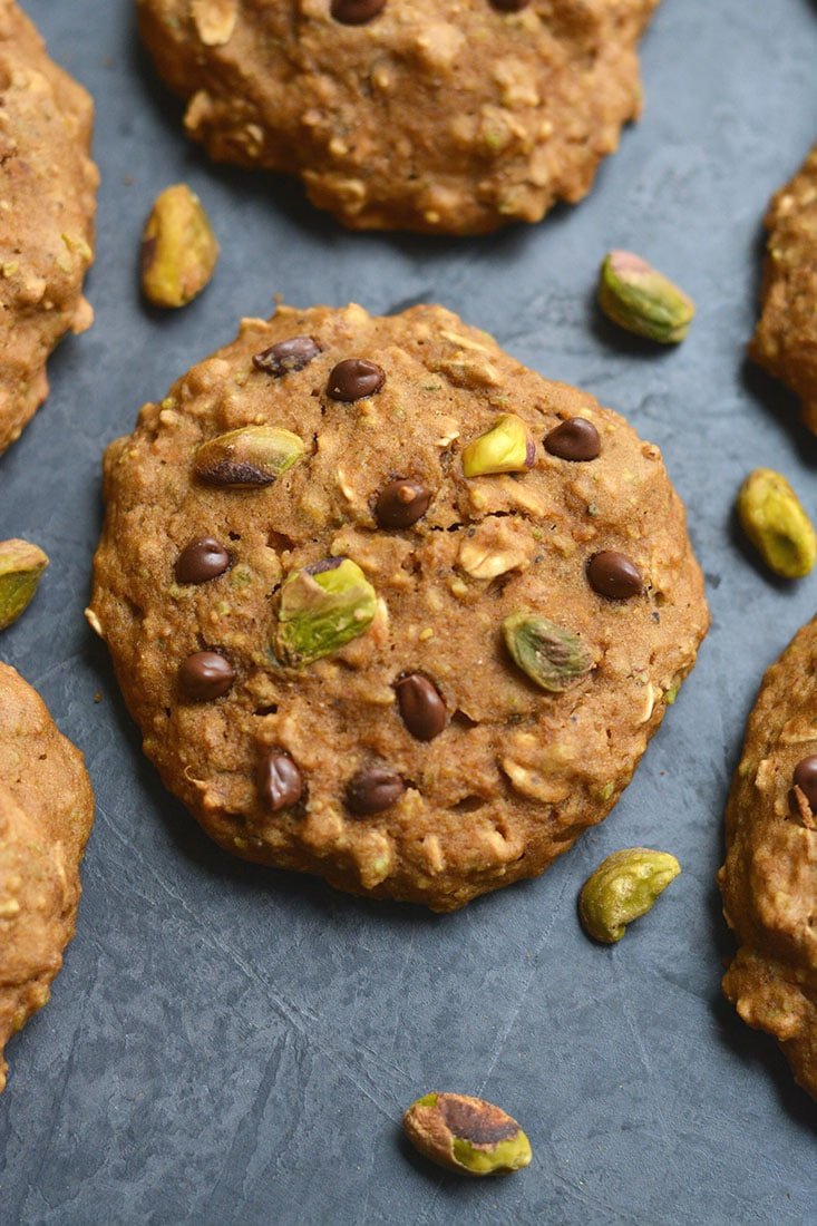 Thick, chewy, Gluten Free Pistachio Chocolate Oatmeal Cookies! A healthier Christmas treat for 100 calories that's even healthy for breakfast. Only 10 minutes to make! Gluten Free + Low Calorie