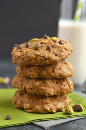Pistachio Chocolate Oatmeal Cookies {GF, Low Cal}