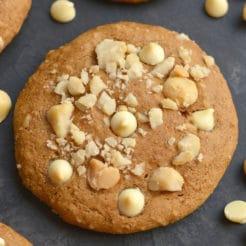 Healthy White Chocolate Macadamia Cookies {GF, Low Cal}