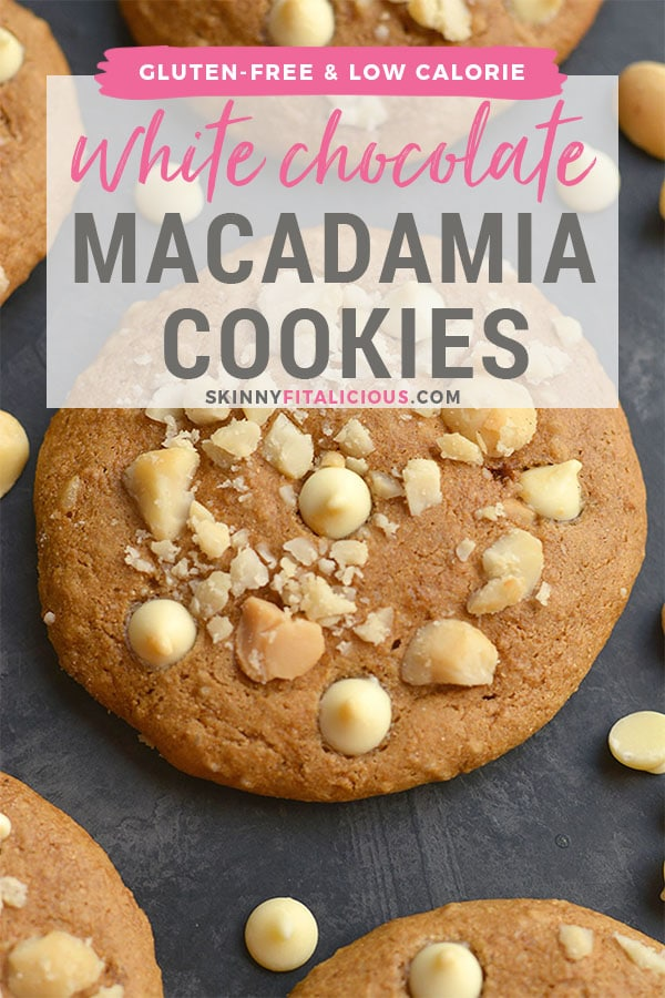 Healthy White Chocolate Macadamia Cookies! Made gluten free with applesauce for a lower sugar cookie recipe, that's lighter & healthier! Great for holiday baking or anytime of year. Gluten Free + Low Calorie