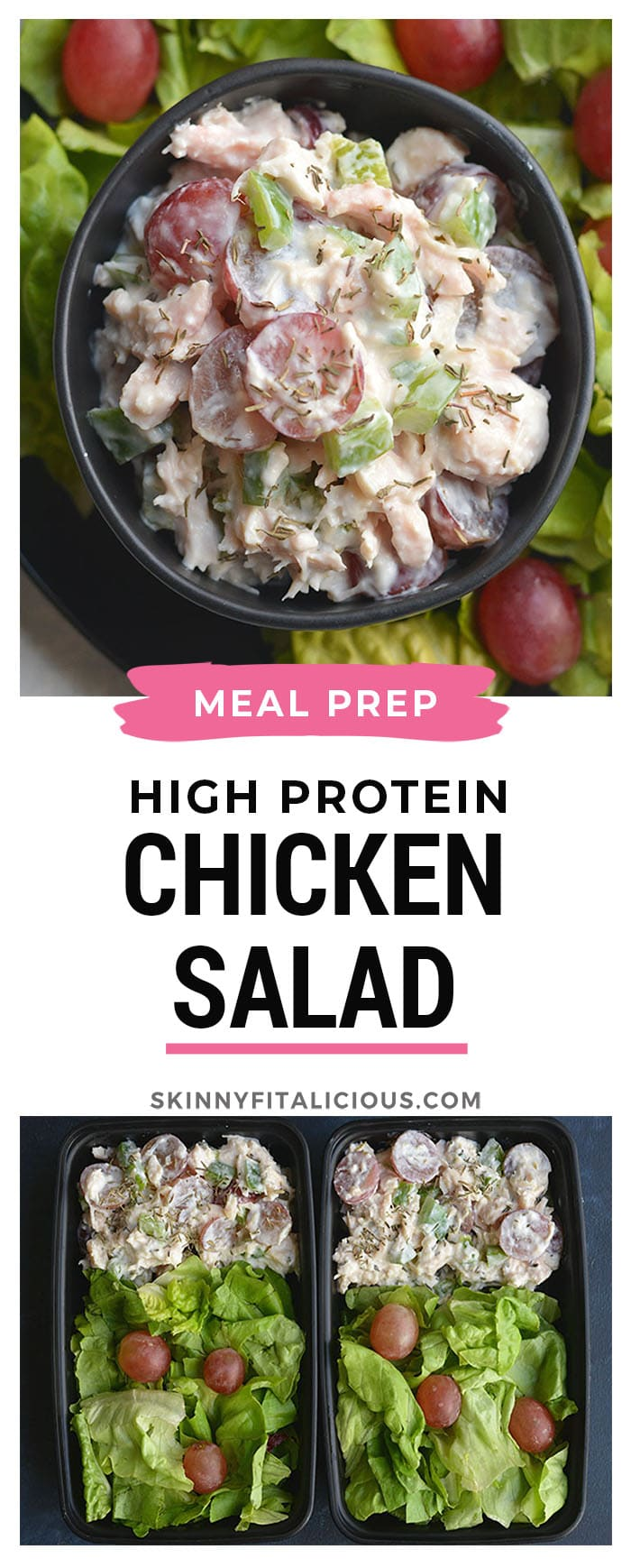 Meal Prep High Protein Chicken Salad! Made with Greek yogurt, grapes and bell peppers this recipe is healthy, easy mayo free and egg free. Great for a quick meal, light lunch or appetizer. Low Carb + Gluten Free + Low Calorie
